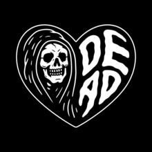 GRIM REAPER DEAD HEART WHITE BLACK BACKGROUND