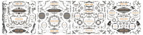 Obraz Set of Vintage Decorations Flourishes Elements.  - fototapety do salonu