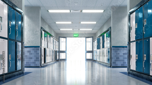 Carta da parati School corridor with exit door. 3d illustration