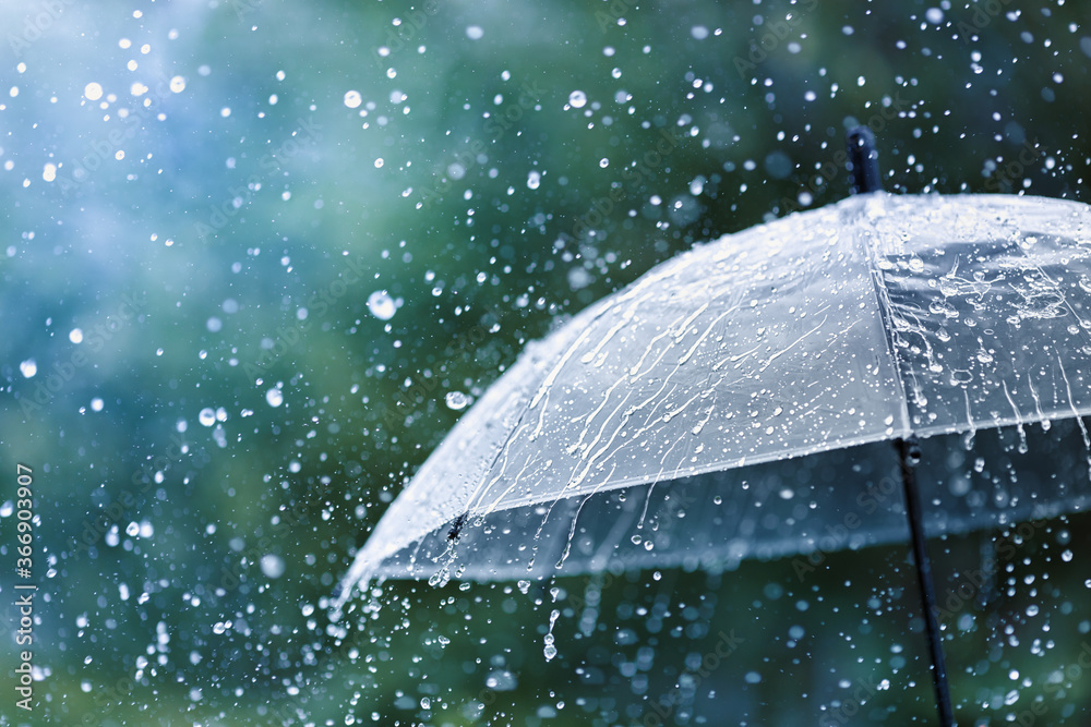 Fototapeta Transparent umbrella under rain against water drops splash background. Rainy weather concept.