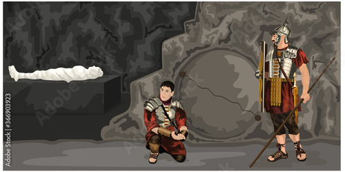 Carta da parati Easter Story - Roman Guards Standing In Front Of Sealed Tomb With The Body Of Je