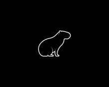 Capybara Silhouette On Black Background. Isolated Vector Animal Template For Logo Company, Icon, Symbol Etc