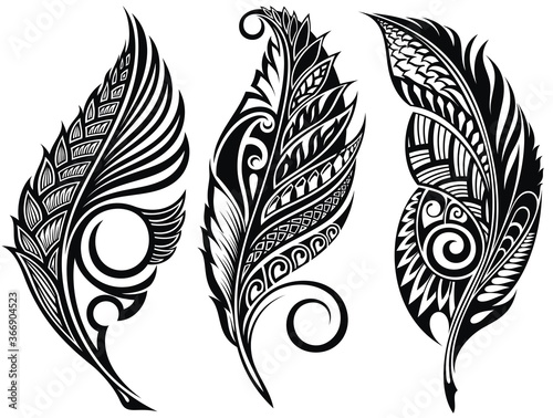 Photo Vector Peerless Decorative Feathers, Tribal design, Tattoo