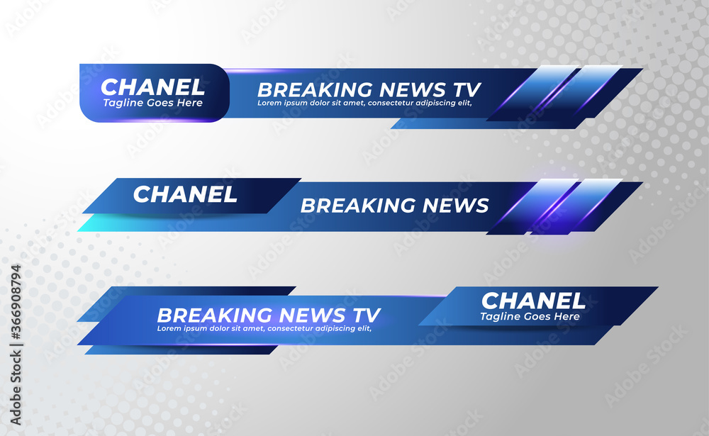 Fototapeta Set Of Broadcast News Lower Thirds Banner Template for Television, Media Channel, Video. Vector Illustration