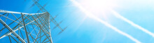 Electricity Background Banner Panorama - Voltage Power Lines / High Voltage Electric Transmission Tower With Blue Sky And Shining Sun