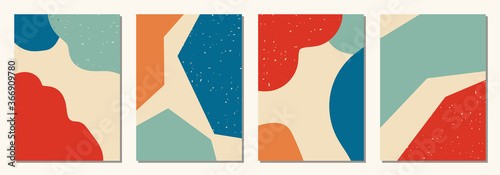 Papel de parede Set of vertical abstract backgrounds or card templates in modern colors, in popu