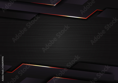 Fototapeta Abstract technology geometric glowing red and black color shiny motion dark metallic background obraz