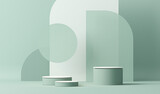 Minimal scene with podium and abstract background. Pastel blue and white colors scene. Trendy 3d render for social media banners, promotion, cosmetic product show. Geometric shapes interior.