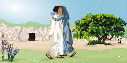 Fototapeta Easter Story - Jesus appears To Mary Magdalene Outside The Tomb Vector