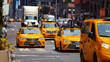 Yellow taxis on the road in New York City