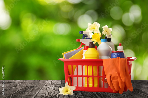 Cuadros en Lienzo Basket with cleaning supplies on wooden surface outdoors