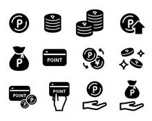 ポイント関連のアイコンのセット/ポイントカード/コイン/買い物