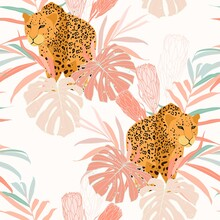 Seamless Pattern With Leopards...