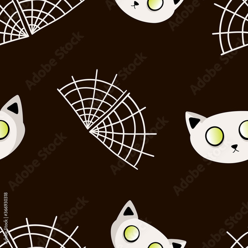 Seamless vector pattern with a white cat with glowing eyes and a web on a black background. Happy Halloween. Children's collection of flat design for t-shirts, fabrics, printing