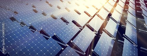 Fototapeta Solar panels array system. Photovoltaic, clean energy technology obraz