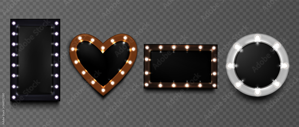 Fototapeta Light bulb frames, retro makeup mirrors for artists, hollywood vintage design billboards borders, casino style glowing screens of round, heart and rectangular shapes, Realistic 3d vector illustration