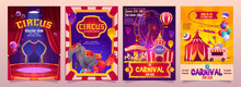 Circus Show Banners, Big Top Tent Carnival Entertainment With Elephant, Phoenix On Stage, Ice Cream Booth And Carousel. Invitation Flyers, Tickets To Funfair Amusement Park, Cartoon Vector Posters Set