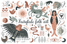 Modern Bohemian Style, Folk Tribal Art In The Scandinavian Style. Folk Mythology, Swedish Folklore. Animals And Plants.