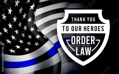 Cuadros en Lienzo Thin blue line usa flag. Police symbol. Vector illustration