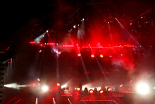 Red Light On A Rock Concert Stage As Background