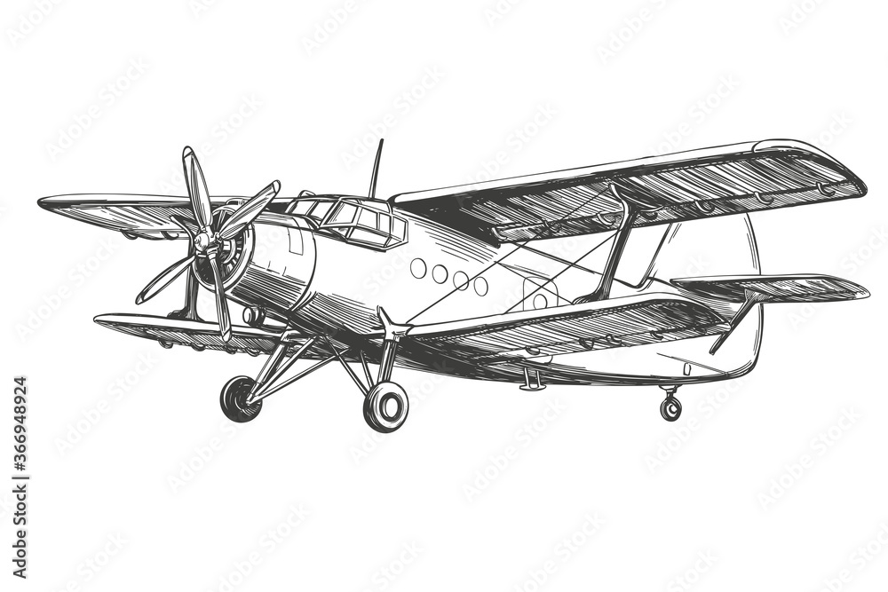 Fototapeta airplane vintage hand drawn vector llustration realistic sketch