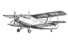 Airplane Vintage Hand Drawn Ve...