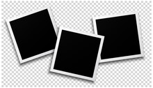 Three Photo Frames On Transparent Background Design