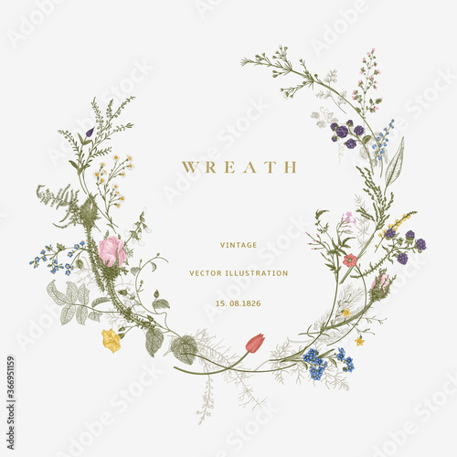 Vintage floral vector wreath. Victorian. Flora. Colorful Fototapet