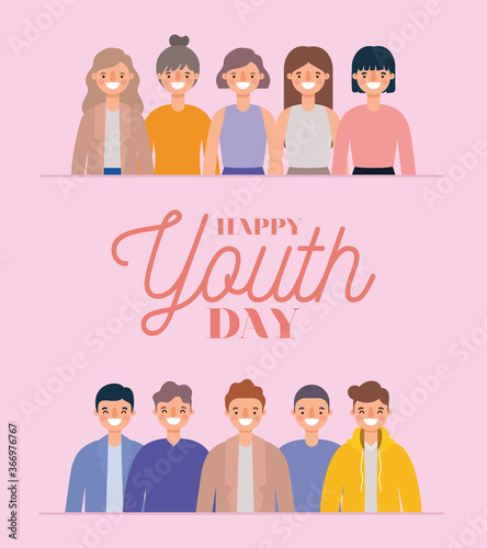 women and men cartoons smiling of happy youth day design, Young holiday and friendship theme Vector illustration