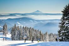Mt Hood, Oregon;  Skiers Makin...