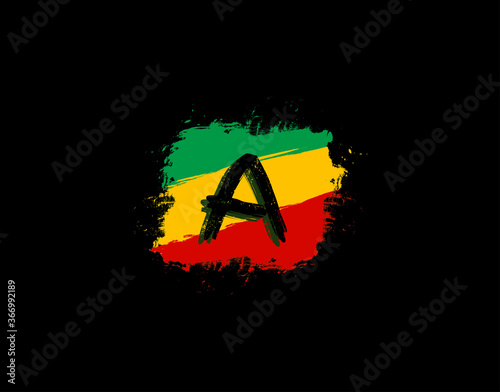 Photo A Letter Logo In Square Grunge Shape With Splatter and Rasta Color