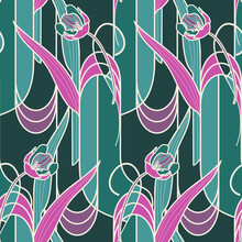 Art Nouveaul Seamless Pattern With Tulip Flowers.