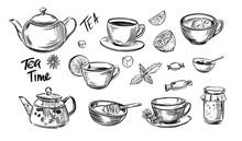 Tea Outline Set. Tea Time. Doo...