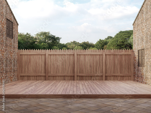 An empty wood terrace between old bricks building with back wooden fence Looking out to see the natural scenery,3d render
