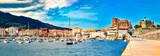 Fototapeta Kawa jest smaczna - Coastal towns of Spain.Castro Urdiales.Cantabria.Fishing village and Boat dock. Scenic seascape.tourism in Spain