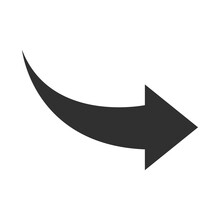 Arrow Indicates The Direction Curved Silhouette Style Icon