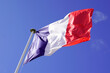 canvas print picture - red blue white French flag on summer sky