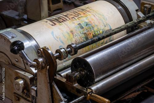 Fotografie, Tablou Close up of part of an antique letterpress
