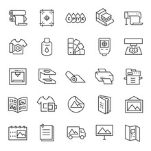 Printing, Icon Set. Digital And Offset, Linear Icons. Line With Editable Stroke