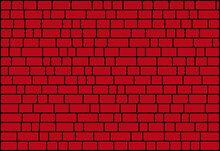 Random Sized Nested Red Rectangles With Black Borders, Brick Wall-like  Vector Background