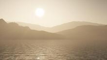 3D Ocean Against A Mountain Landscape In Sepia Tones