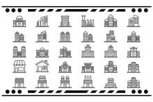 Gebäude Icon Set Line