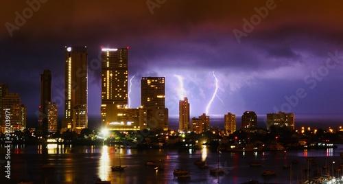 Obraz na plátně lightning storm in the bay of cartagena