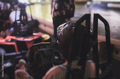 Obraz na plátně View of indoor karting racetrack, go-kart competition, go-cart racing track