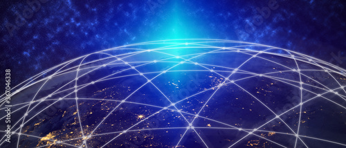 Obraz na plátne 3D illustration global modern creative communication and internet network map connect in smart city