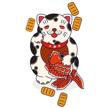 Vector Illustration Of A Cat Holding A Goldfish. Mascots, Templates, Food Logos, Stickers