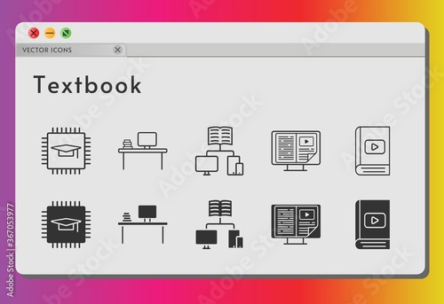 Fotografía textbook icon set