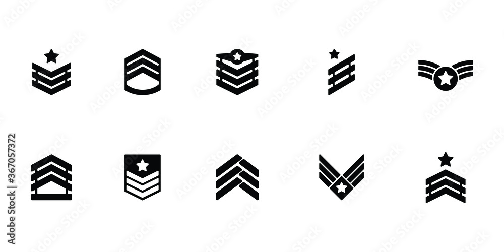 Fototapeta Collection of military rank icon or logo isolated on white background