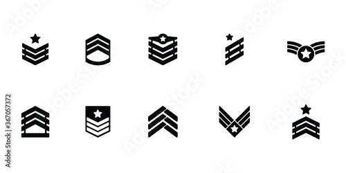 Fotomural Collection of military rank icon or logo isolated on white background