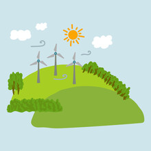 Illustration Of Windmills And A House On A Hill. The Image Shows Alternative Energy Sources. Nature, Hills, Grass And Trees, Renewable Energy Sources In A Quiet Corner Far From The City. Vector